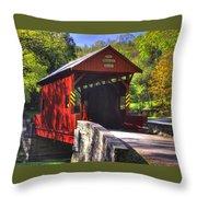 Pa Country Roads - Ebenezer Covered Bridge Over Mingo Creek No. 2a - Autumn Washington County Throw Pillow