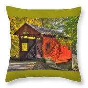 Pa Country Roads - Henry Covered Bridge Over Mingo Creek No. 3a - Autumn Washington County Throw Pillow