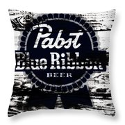 Pabst Blue Ribbon Beer Sign Throw Pillow