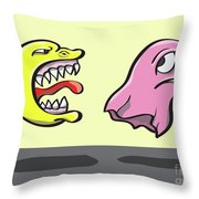 Pac Man And Ghost Illustration Throw Pillow