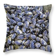 Pacific Blue Mussels Throw Pillow