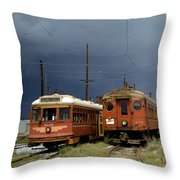 Pacific Electric Trolley, 5115, 316, Long Beach, California Throw Pillow