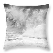 Pacific Ocean Breakers Black And White Throw Pillow