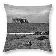 Pacific Ocean Coastal View Black And White Throw Pillow