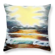 Pacific Ocean Storm Dreamy Mirage Throw Pillow