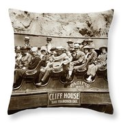 Pacific Siteseeing Co Bus No. 15 With A Load Of Tourists On Point 1919 Throw Pillow