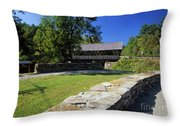 Packard Hill Covered Bridge - Lebanon New Hampshire  Throw Pillow