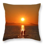 Paddle Boarders Throw Pillow