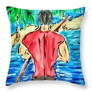 Paddle In Paradise Throw Pillow