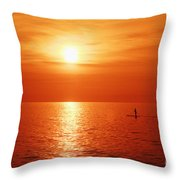 Paddle Surfer Sunset Throw Pillow