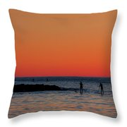 Paddleboarding Pairs - Mackinzie Beach Sunset Throw Pillow