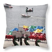 Paddleboats Waiting In The Inner Harbor At Baltimore Throw Pillow