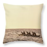 Paddlers Silhouetted Throw Pillow