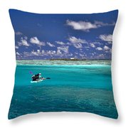 Paddling in Moorea Throw Pillow by David Smith