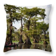 Paddling In The Bayou Throw Pillow