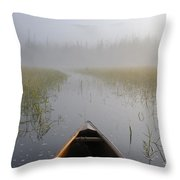 Paddling Into The Fog Throw Pillow