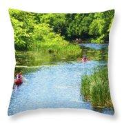 Paddling On A Calm Creek Throw Pillow