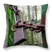 Padlocked Gate Throw Pillow