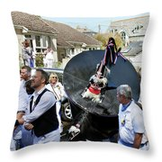 Padstow Blue Oss And Supporters Throw Pillow