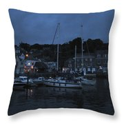 Padstow Harbor At Night Throw Pillow