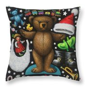 Page 1 Of 2 Teddy Bear Santa Claus Paper Doll Throw Pillow
