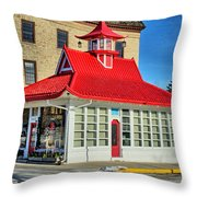 Pagoda Gas Station Throw Pillow
