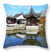 Pagoda In The Pool Throw Pillow