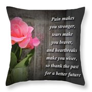 Pain Makes You Stronger Motivational Quotes Throw Pillow
