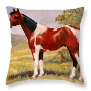 Paint Horse Gelding Portrait Oil Painting - Gizmo Throw Pillow
