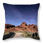 Paint Mixed Valley Of Fire Landscape  Throw Pillow