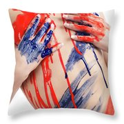 Paint On Woman Body Throw Pillow