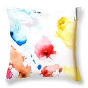 Paint Splatters And Paint Brush Throw Pillow by Chris Knorr