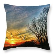 Painted Autumn Sunset Throw Pillow