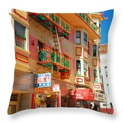 Painted Balconies In San Francisco Chinatown Throw Pillow