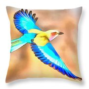 Painted Birds In Skyline Throw Pillow