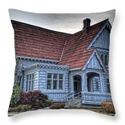 Painted Blue House Throw Pillow