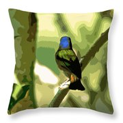 Painted Bunting Cutout Throw Pillow