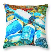 Painted Buoys Throw Pillow