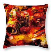 Painted Camera Throw Pillow