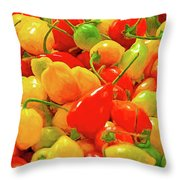 Painted Chilies Throw Pillow