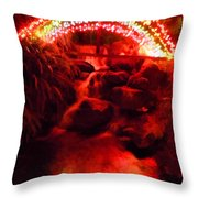 Painted Christmas Waterfall Throw Pillow