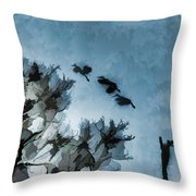Painted Cranes Throw Pillow