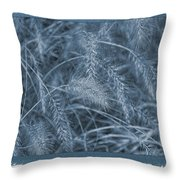 Painted Cyanotype Golden Wheat Throw Pillow