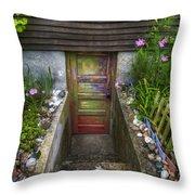 Painted Garden Door Throw Pillow