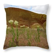 Painted Hills White Wildflowers Throw Pillow