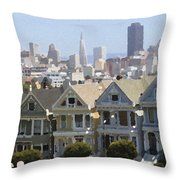 Painted Ladies - Palette Knife Throw Pillow