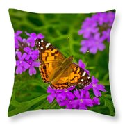 Painted Lady On Purple Verbena Throw Pillow