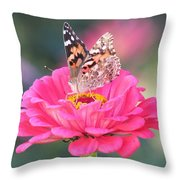 Painted Lady On Red Zinnia 3  Throw Pillow