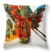 Painted Leaf Abstract 2 Throw Pillow