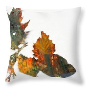 Painted Leaves Abstract 1 Throw Pillow
